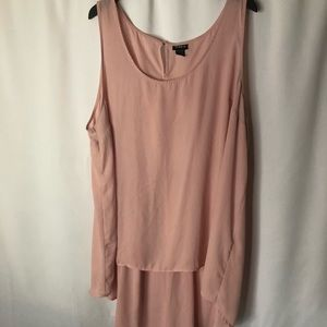 Plus Size Blush Pink Sheer HiLo Tunic Tank